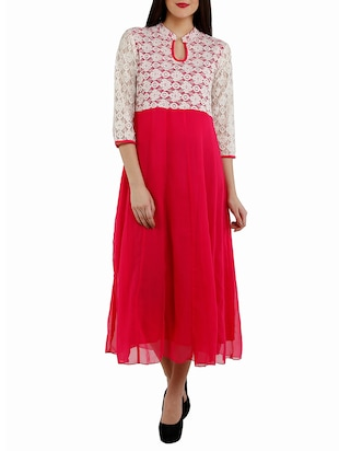 red georgette anarkali kurta