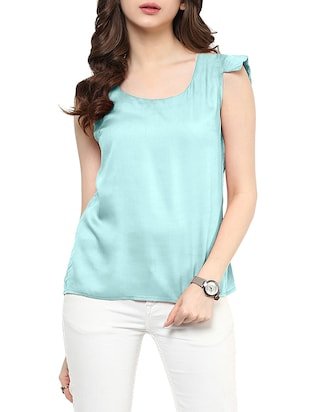 light blue polycrepe top