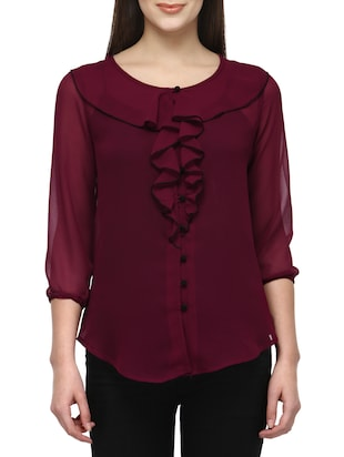 solid wine ruffle top