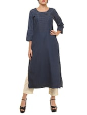 Blue Denim Long Kurta -  online shopping for kurtas