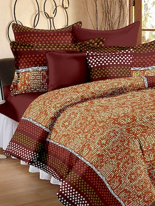 Story @ Home Cotton Brown 1 Double Bedsheet With 2 Pillow Cover