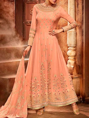 Peach faux georgette embroidered dress material