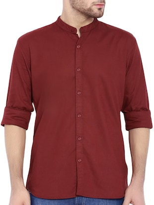 red cotton casual shirt