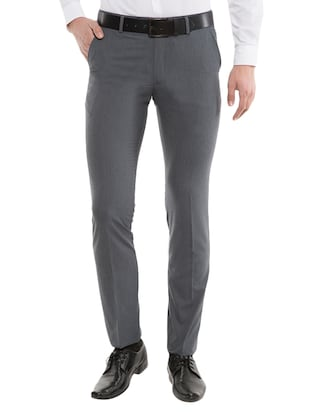 grey polyester flat front formal trouser -  online shopping for Formal Trousers