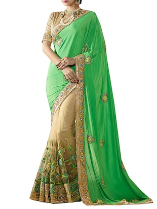 green net embroidered saree