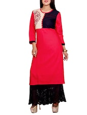 red rayon embroidered long kurta -  online shopping for kurtas