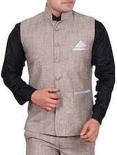 beige linen waist coat -  online shopping for Waist coat