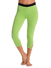 Green Stretchable Cotton Spandex Capri With Waist Belt Closure - By