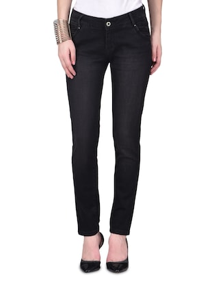 Black Polyester Spandex Jeans