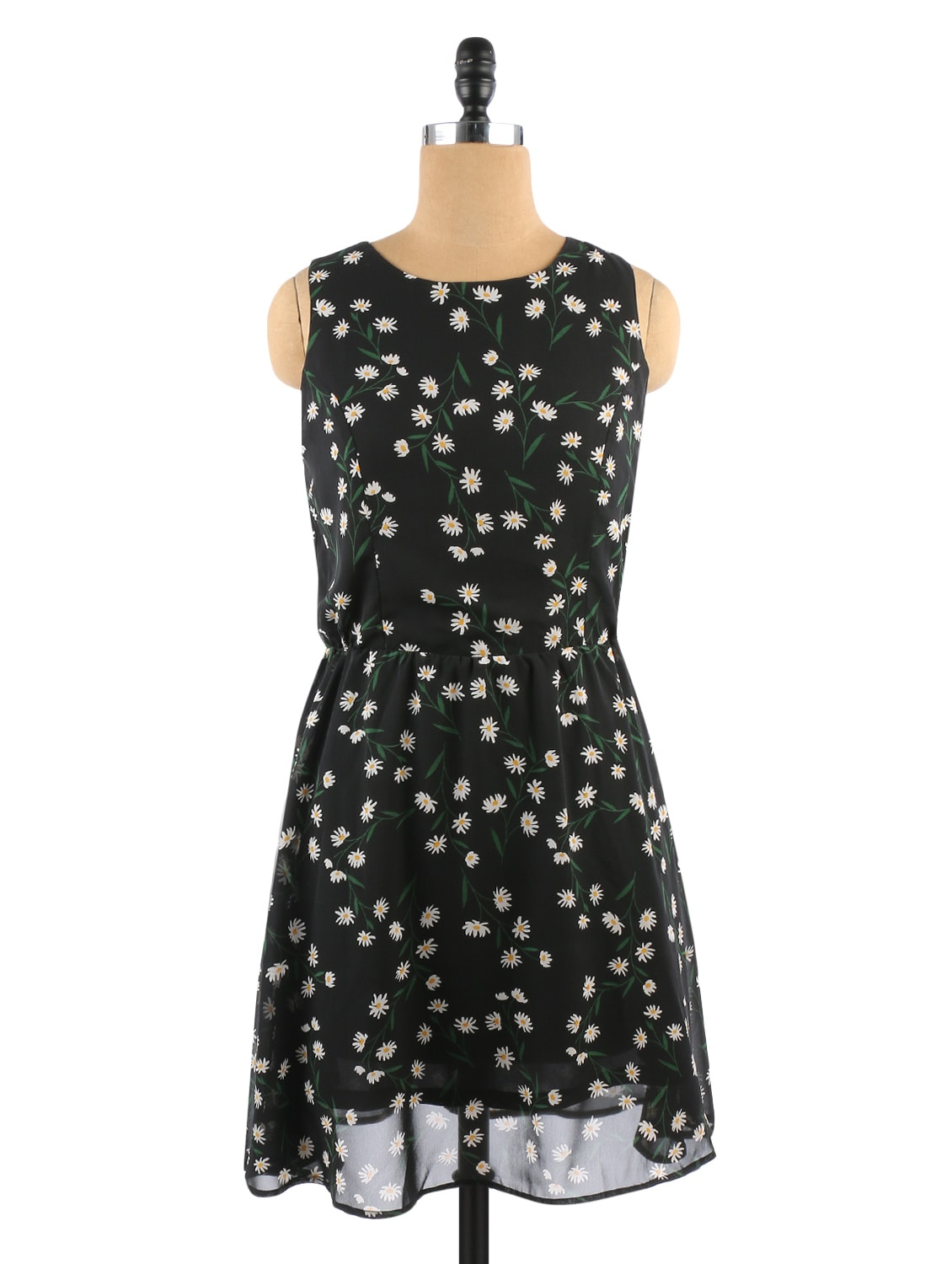 Black Floral Printed Sleeveless Polyester Dress - By