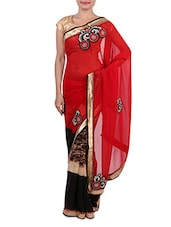 Red Embroidered Faux Georgette Saree - By