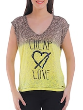 Yellow Cotton Blend Printed Short Sleeved Top - By