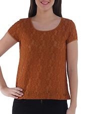 Brown Nylon Solid Short Sleeved Top - By