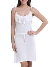 White Viscose Sleeveless Solid Dress - By