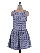 Blue Printed Sleeveless Cotton Dress - By