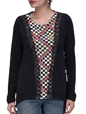 Black Printed Sweatshirt With Lace Work - By - 1261209