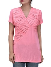 Pink Knitted Viscose Top With Cutout Work - By