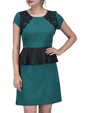 Teal Green Peplum Waist Poly Crepe Dress - By