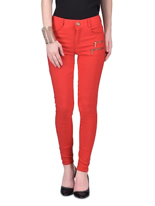 Red plain cotton lycra stretchable jegging