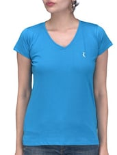 Solid Blue Cotton T-Shirt - By