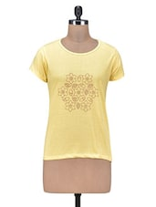 Yellow Printed Cotton T-Shirt - By