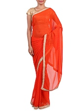 Red Chiffon Embroidered Saree - By