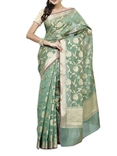 Green Zari Worked Chanderi Silk Saree - By