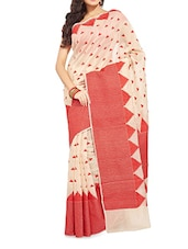 Beige Handwoven Chanderi Silk Saree - By