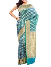Blue Zari Worked Chanderi Silk Saree - By