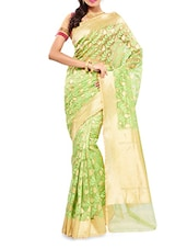 Green Zari Worked Net Saree - By