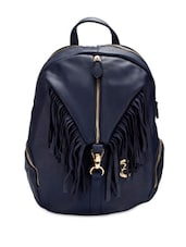 Navy Blue Faux Leather Backpack - By