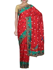 Red Embellished Art Silk Saree - By - 1262543