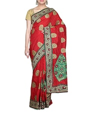 Red Embellished Art Silk Saree - By