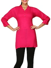 Pink Plain Cotton Lycra Short Kurti - By