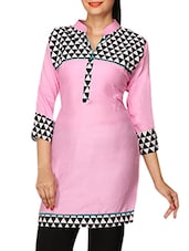 Pink Printed Cotton Lycra Short Kurti - By