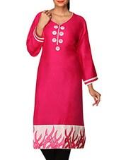 Pink Printed Cotton Lycra Long Kurti - By
