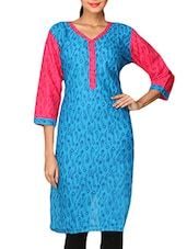 Blue Quarter Sleeve Printed Cotton Kurti - By