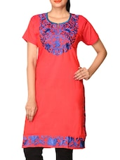 Red  Embroidered Dupion Silk Kurti - By