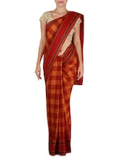 Maroon And Mustard Kanchi Cotton Saree - By