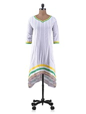 White Cotton Laced Kurti - By
