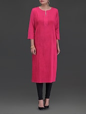 Solid Pink Cotton Kurta - By