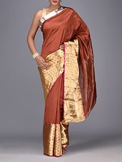 Brown And Gold Brocade Zari Silk Sari - By