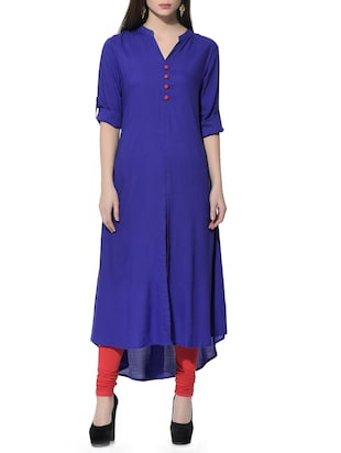 blue rayon high-low kurta