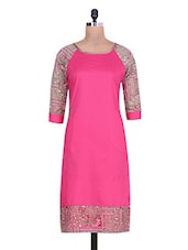 Pink Cotton Chiffon Printed Kurti - By