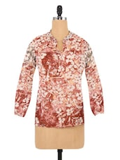 Brown And White Polyester Floral Print Top - By
