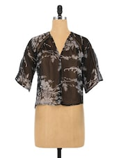 Black Polyester Printed Top - By