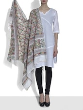 White Embroidered Cotton Dupatta With Mirror Work - By