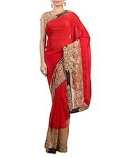 Red Embroidered Georgette Saree available at Limeroad for Rs.1976
