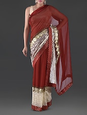 Red Embroidered Georgette Saree - By