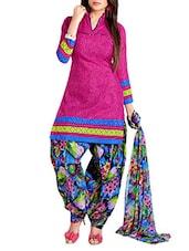 Violet Colour Embroidered Cotton Unstitched Suit Piece - By